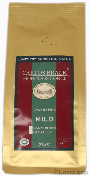 "Kaffee Carlos Brack ""Highclass Coffee- Mild"" ganze Bohne 