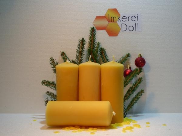 4er Set Stumpenkerze mit Kordelmuster | Loma.eco | Imkerei & Honighandel Doll