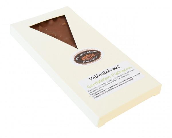 Vollmilchschokolade mit gerösteten Pistazien