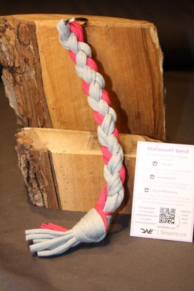 Tierschutz Schlüsselband/ Taschenanhänger – pink-grau