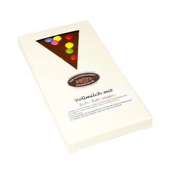 Vollmilchschokolade mit bunten Schokolinsen