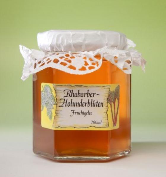 Rhabarber Holunderblüten Marmelade